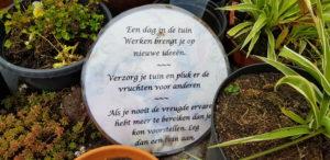 De Sfeerstal Nieuwveen tuinspreuk