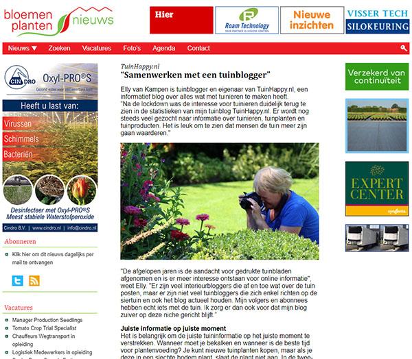 TuinHappy.nl in BP Nieuws