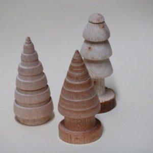 Houten mini bomen kerstboompjes houtdraaiwerk