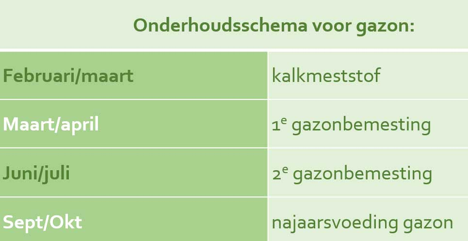 Onderhoudsschema voor gazon