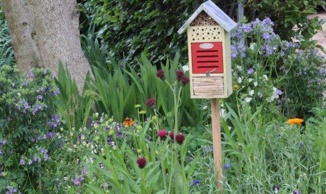 Insectenhotel in een bijentuin